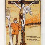 Caricatura dei socialisti che mettono in crocce Mussolini