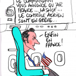 "© Patrick Pinter - ""il commandante annuncia che Air france, la SNCF, il controllo aero sono in sciopero"" - macron: ""finalmente in Francia!"" - ""The captain announce that Air France, the SNCF, the air space control are on strike"" - Macron ""At least in France!"""